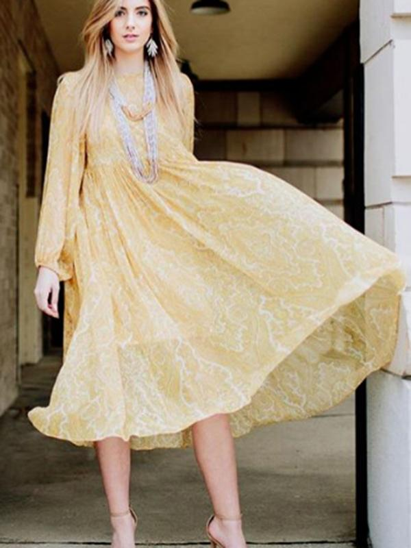 Yellow Long Sleeves Midi Dress