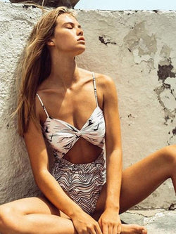 Patterned Tops With Corrugated Stitching One-piece Swimsuit
