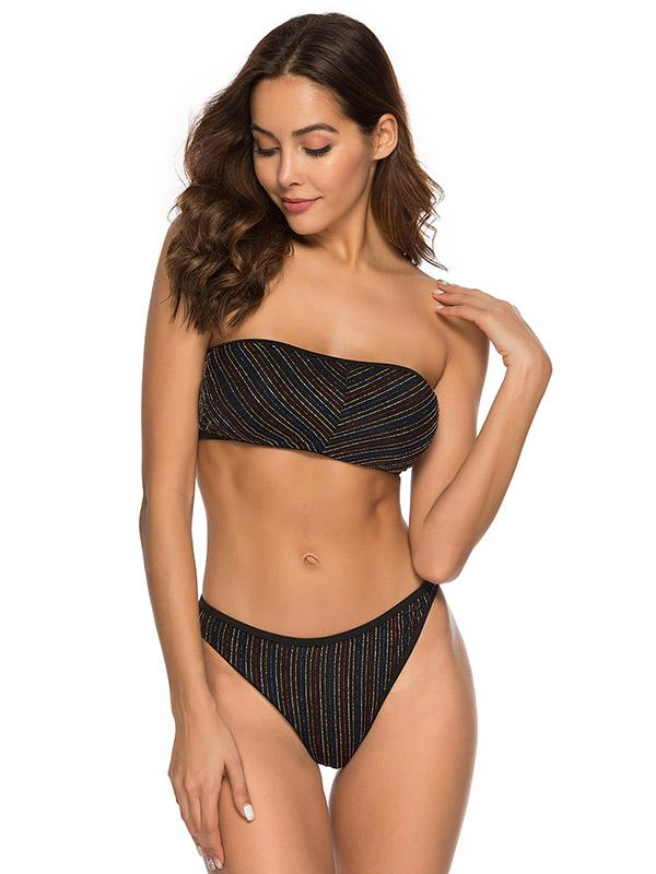 Strapless Golden Thread Bikini Set