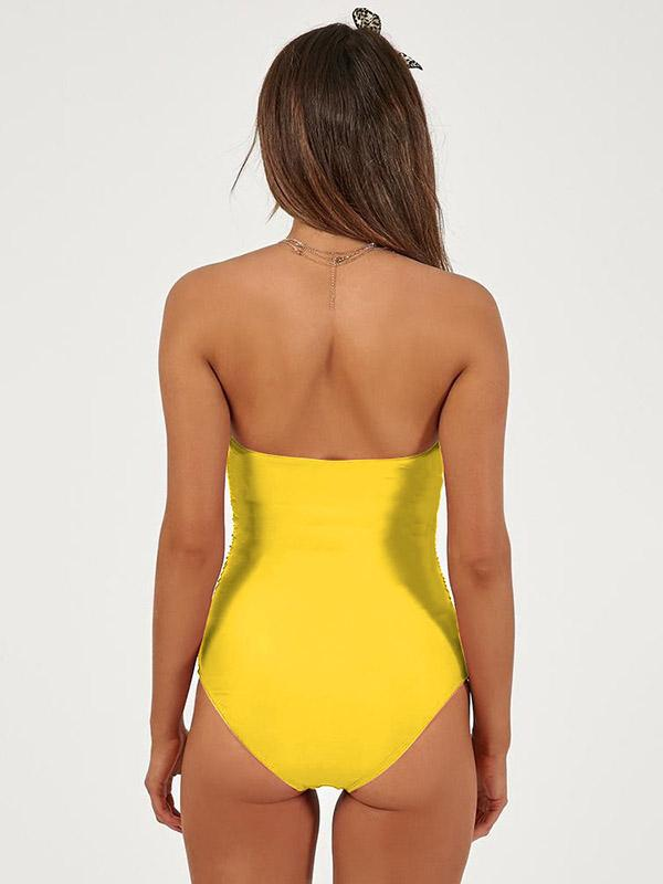 Plunge Neck Top With High Cut One-piece Swimsuit