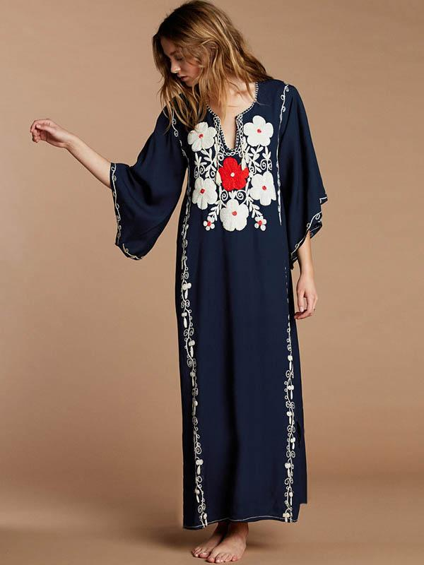 Embroidered Flared Sleeves Maxi Dress