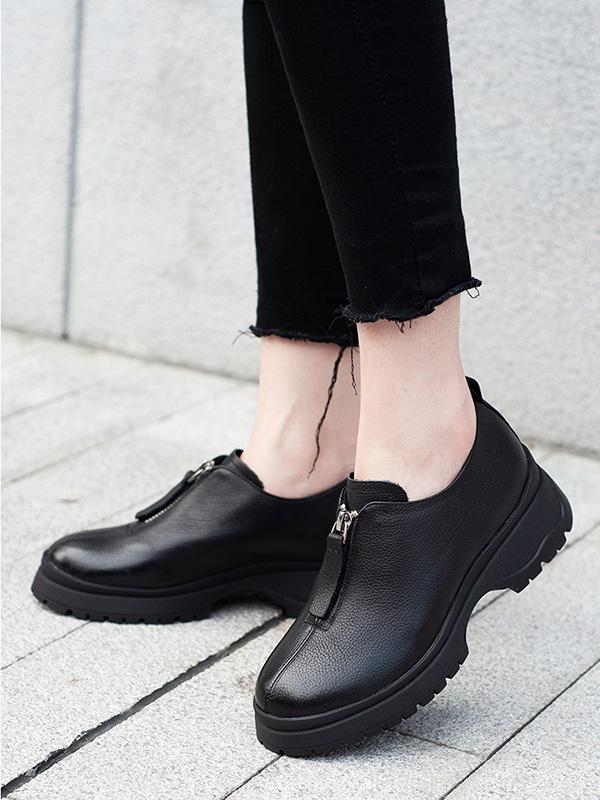Leather Round Head Zipper Flats Shoes