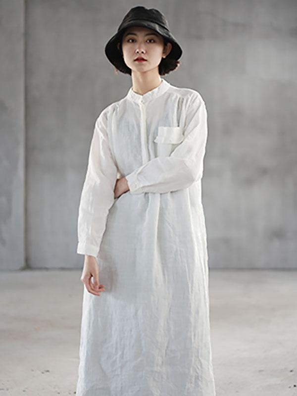White Ramie Cotton Split-side Simple Linen Blouse Dress
