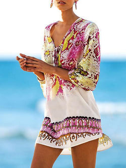 V-neck 3/4 Sleeves Printed Bohemia Mini Dress