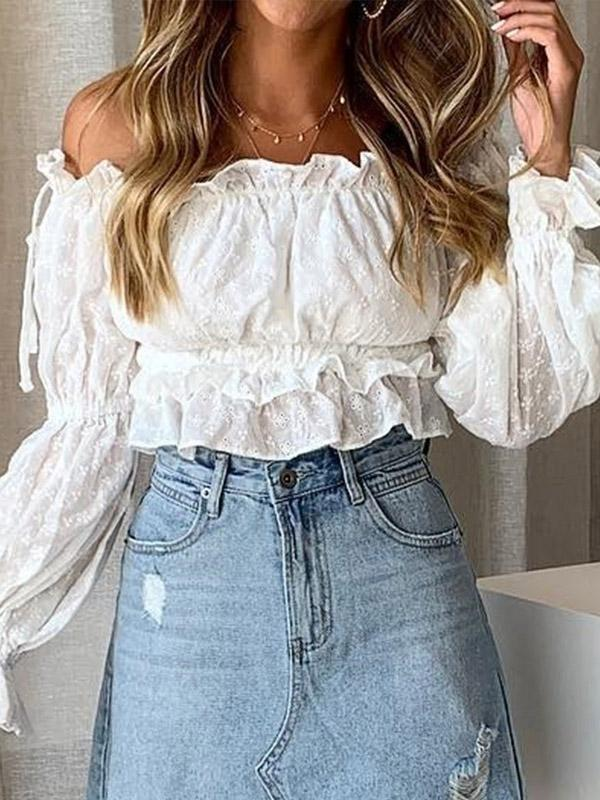 Off Shoulder Puff Sleeves Blouses&shirts Tops