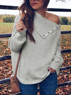 Asymmetric Solid Color Long Sleeves Sweater Tops