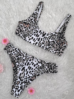 Leopard Scoop Bikini Set