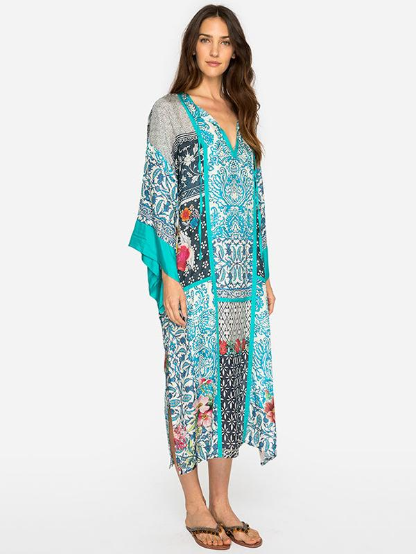 Printed Green Maxi Dresses Bikini Cover-Ups