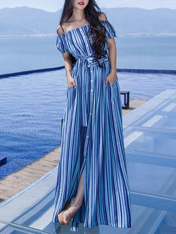 Sexy Flat Shoulder Spliting Maxi Bohemia Beach Dress