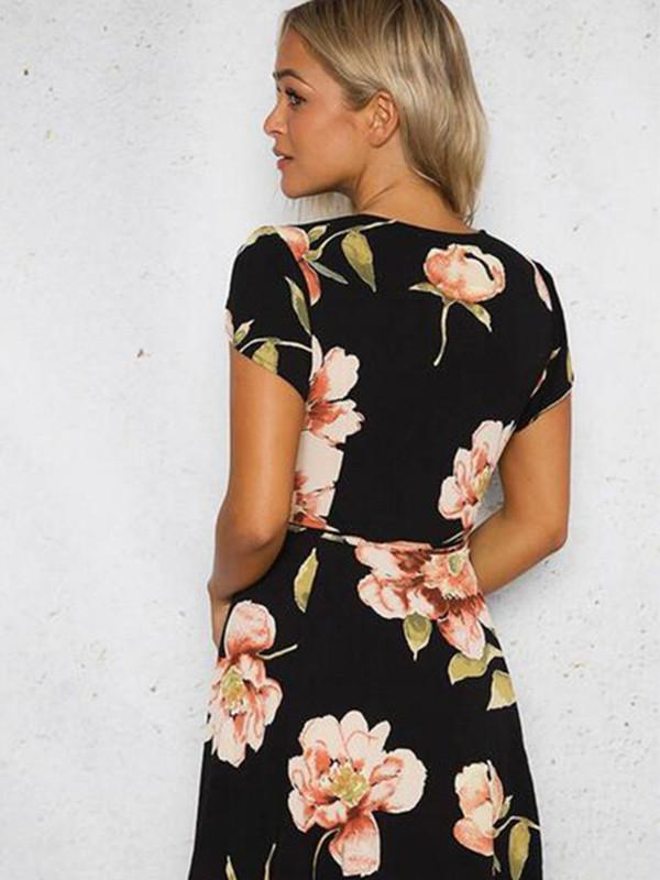 Cap-Sleeve V-Neck Floral-Print Mini Dress