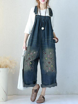 Loose Denim Embroidered Wide Leg Jumpsuit