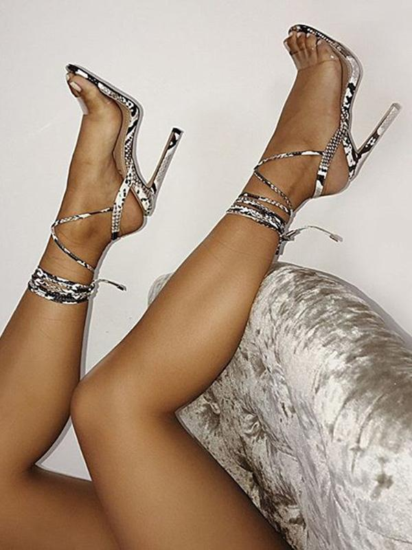 Peep Toe Snake Pattern Thin Heels
