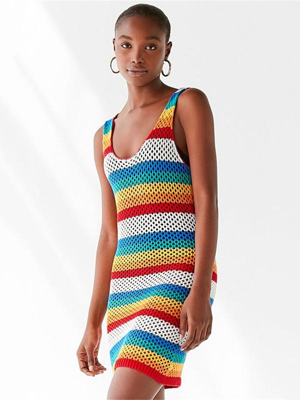 Hollow Colorful Beach Knitting Cover-ups Swimwear
