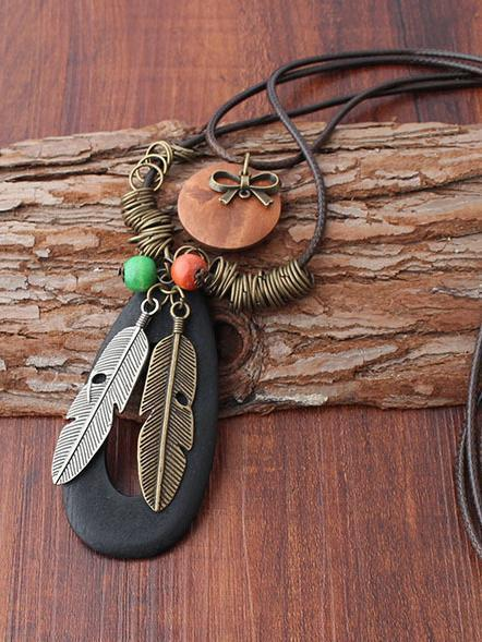 Vintage Woodiness Paraffined Rope Feather Necklaces Accessories