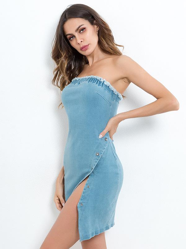 Sexy Strapless Denim Mini Dress