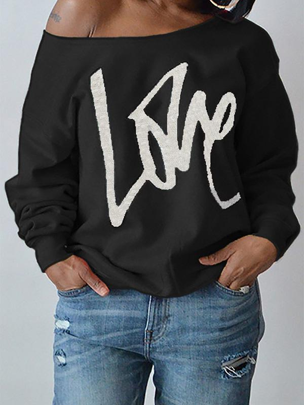 Plus Size Loose Printed Hoodies Top