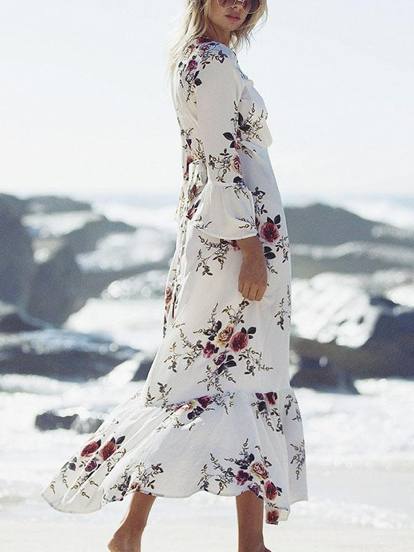 Floral-Print Long Sleeves Bohemia Maxi Dress