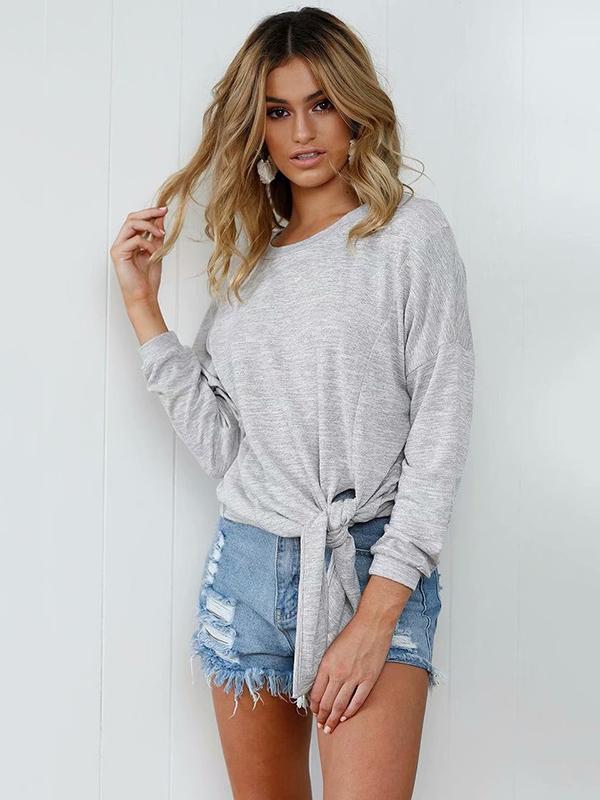 Gray Long Sleeves Knotted Sweatshirts