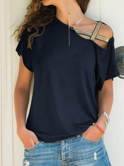 Casual Irregular Sloping Shoulder Short T-shirt