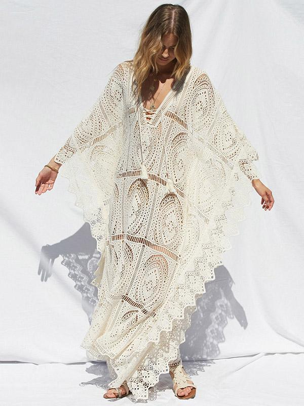 Lacy Split-joint V-neck Maxi Cover-up Dress