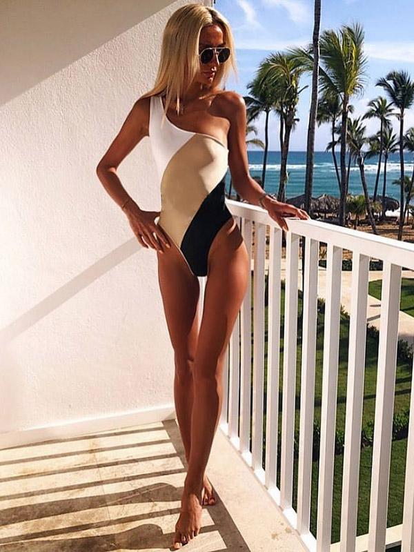 One Shoulder Color Block One Piece