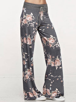 Floral Bandage Wide Leg Bottom Casual Pants
