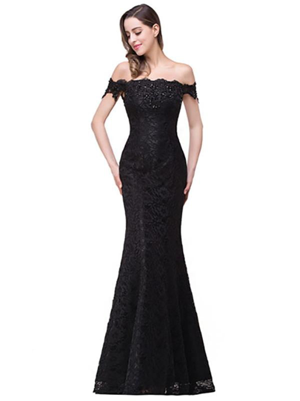 Pretty Lace Off Shoulder Fishtail Evening Dress