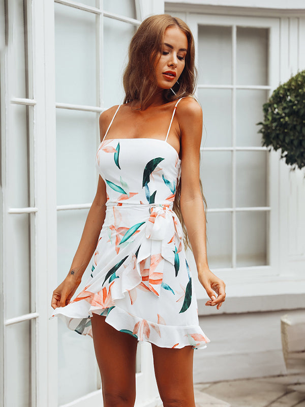 Summer Boho Sleeveless Short Floral Sundress Elegant Party Beach Evening Dresses Vestidos