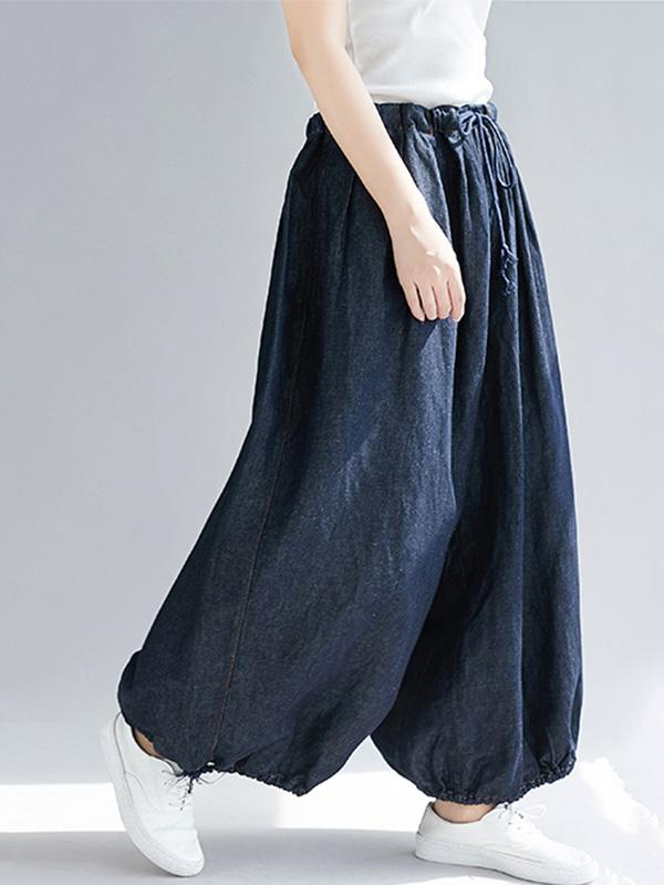 Loose Plus Size Denim Bloomers Pants