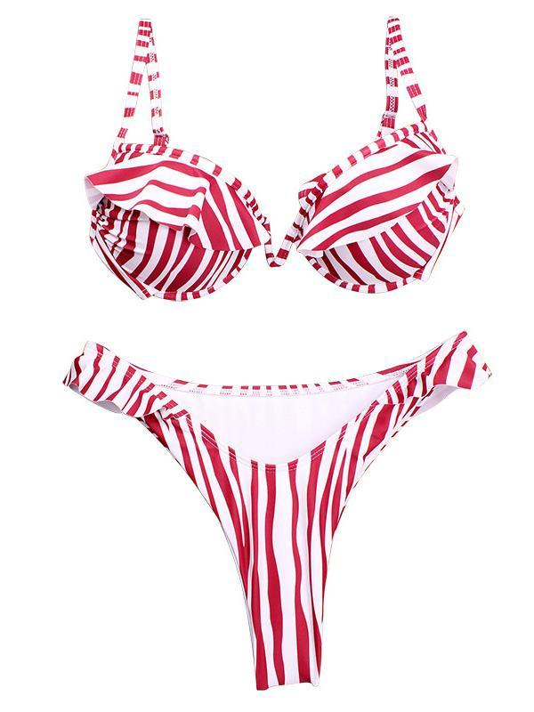 Fashion Striped&Leopard Bikinis Swimwear