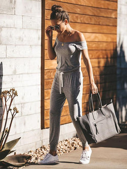 Casual Solid Off Shoulder Jumpsuits