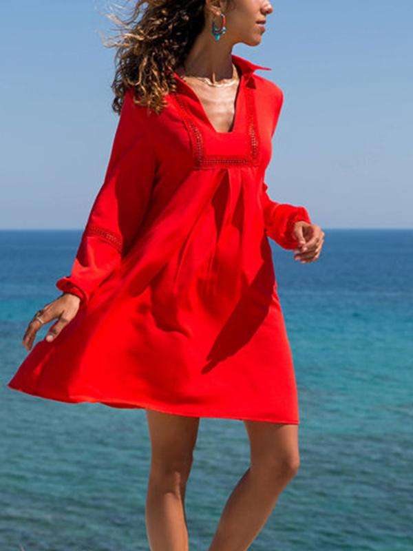 3 Colors Long Sleeves Mini Dresses
