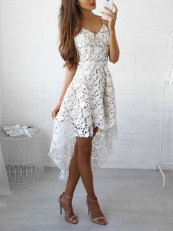 Pretty Lace Asymmetric Spaghetti-neck Midi Dress