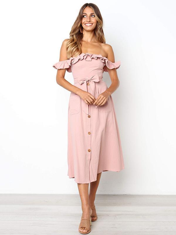 5 Colors Flouncing Midi Dress