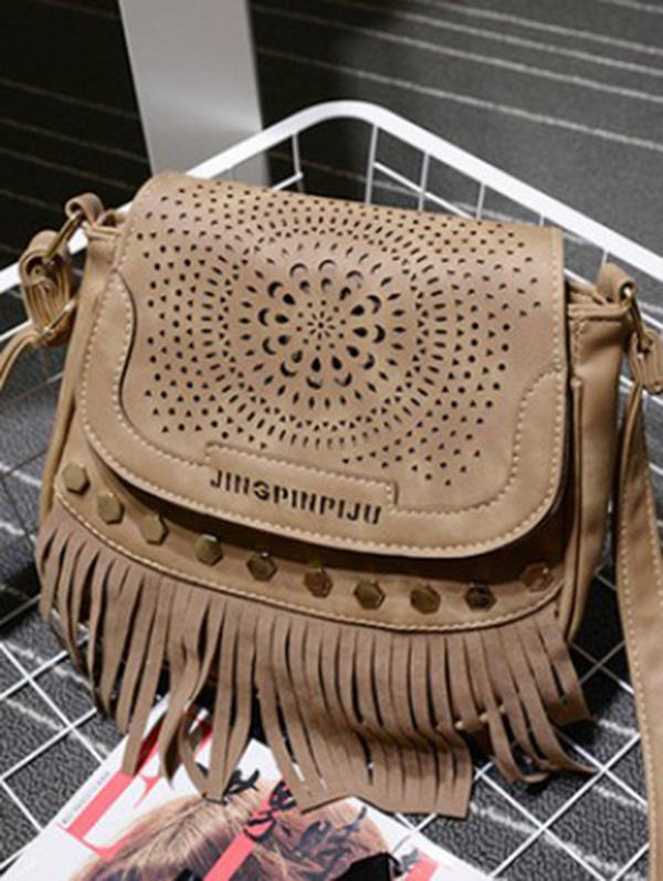 Single Shoulder Fringe Hexagonal Nail bag