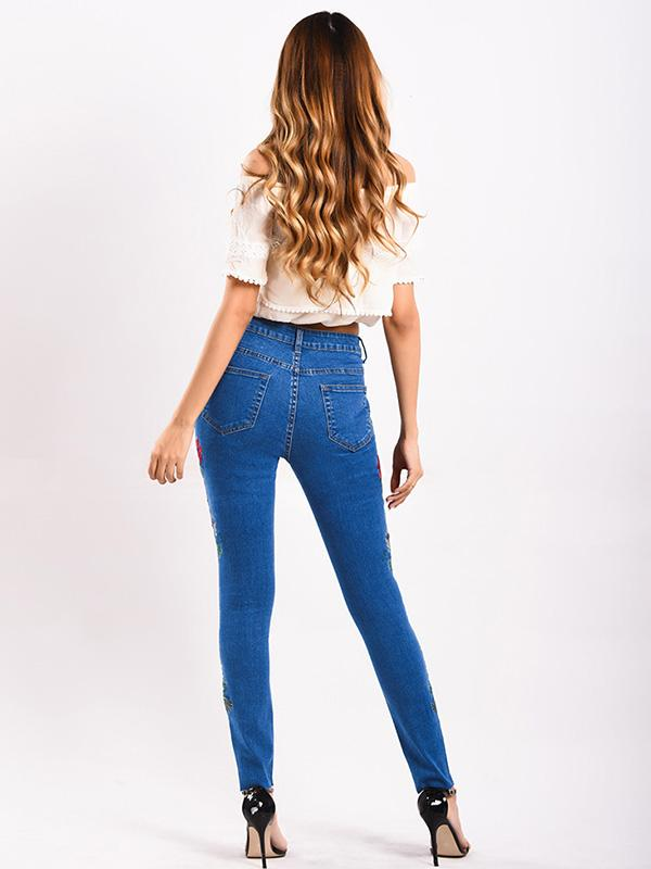 Embroidered Elastic Jeans Pants Bottoms