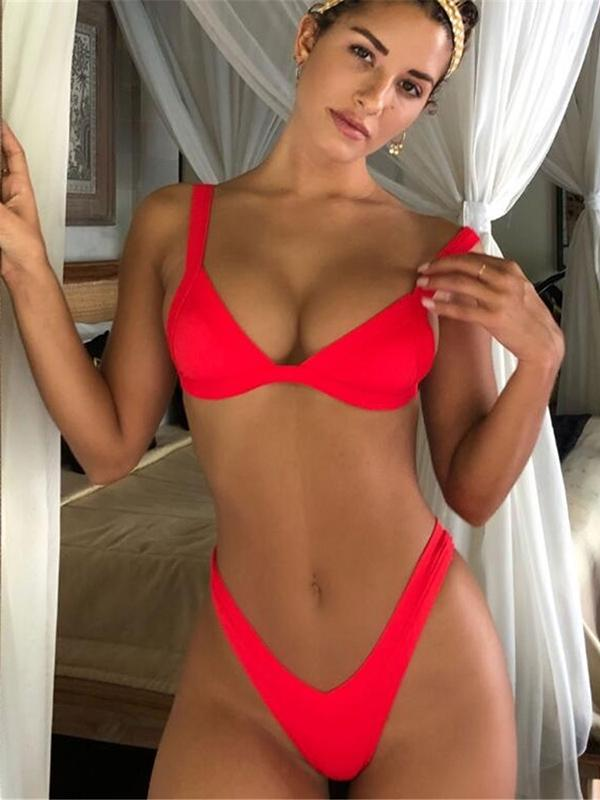 4 Colors Plain Bikinis Swimwear