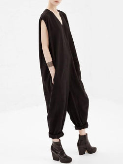 Dark Brown Loose V-neck Sleeveless Jumpsuits