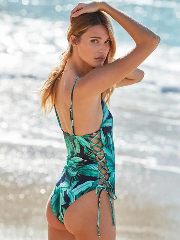 Leaves Print Lace Up One Piece Swimsuit