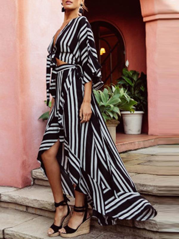 Fashion Striped Shirt and Long Skirt Dress Suits