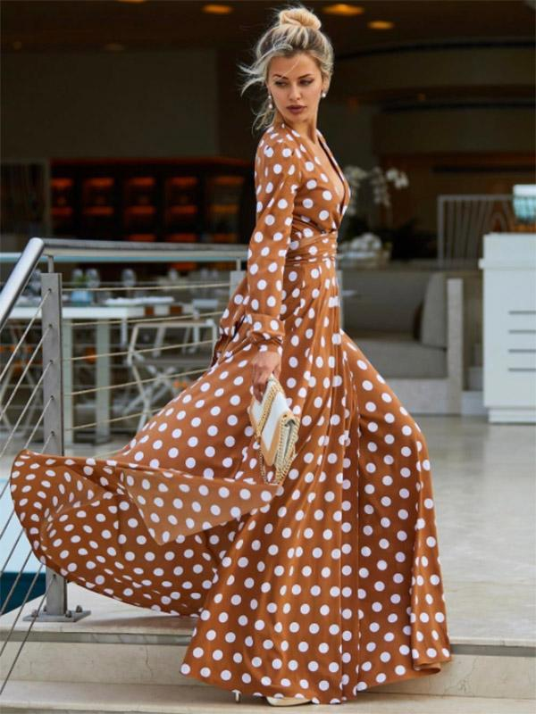 Polka-dot Deep V-neck Split-side Maxi Dress