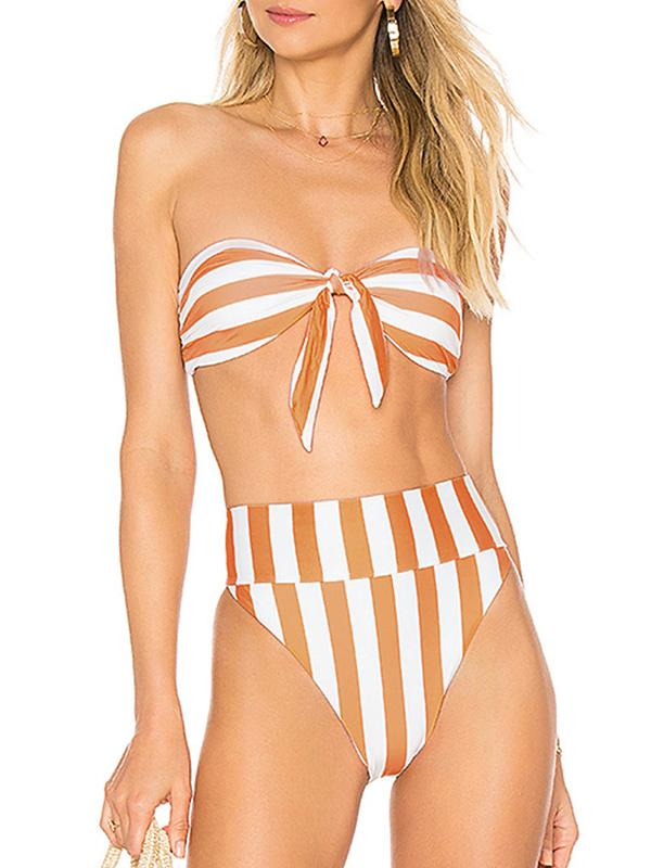 Bandeau High Waisted Bikinis Swimwear