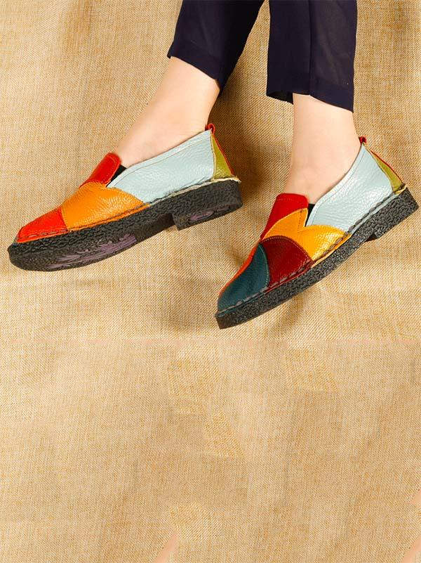 Multicolor Split-joint Slip-on Shoes