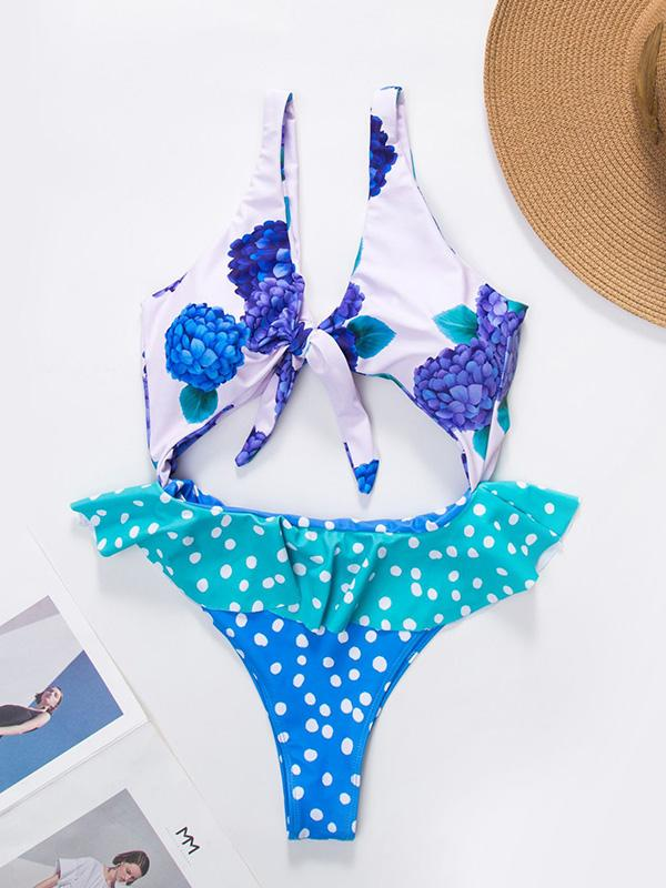 Knot Front Hollow One-piece Swimwear