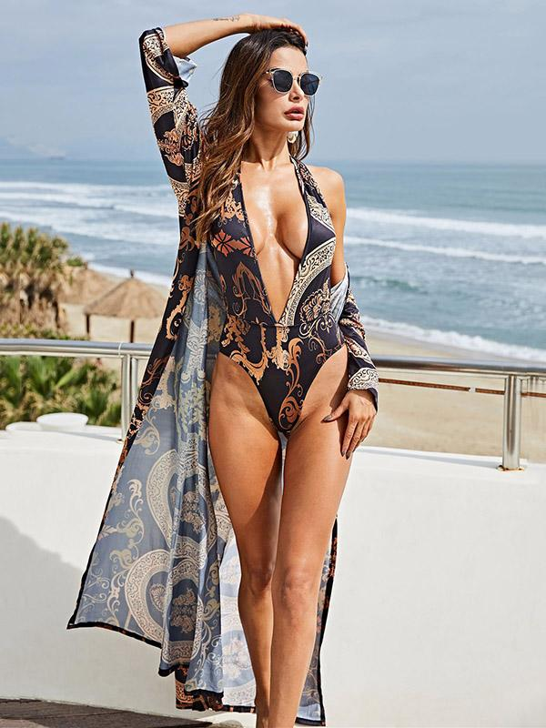 Plunge V-neck Lace Up One-Piece+Cover-up Suits