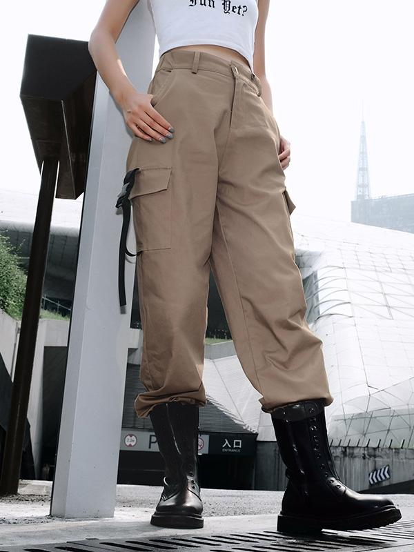3 Colors High Waist Cargo Pants For Women