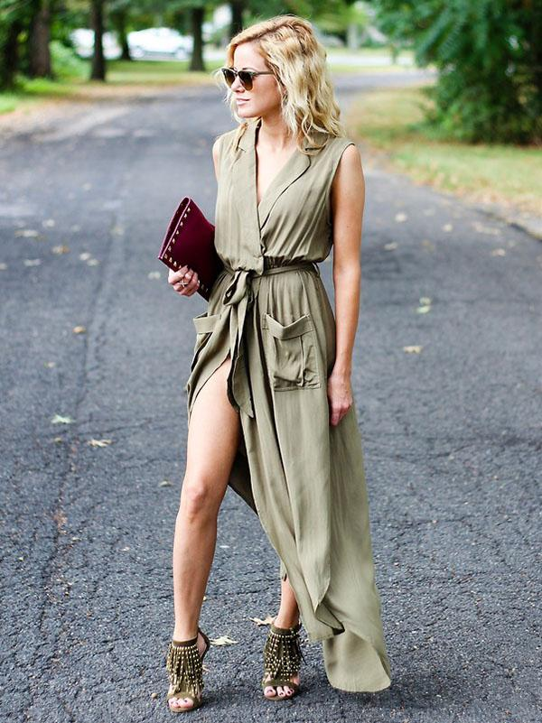 Asymmetric Sleeveless Maxi Shirtdress