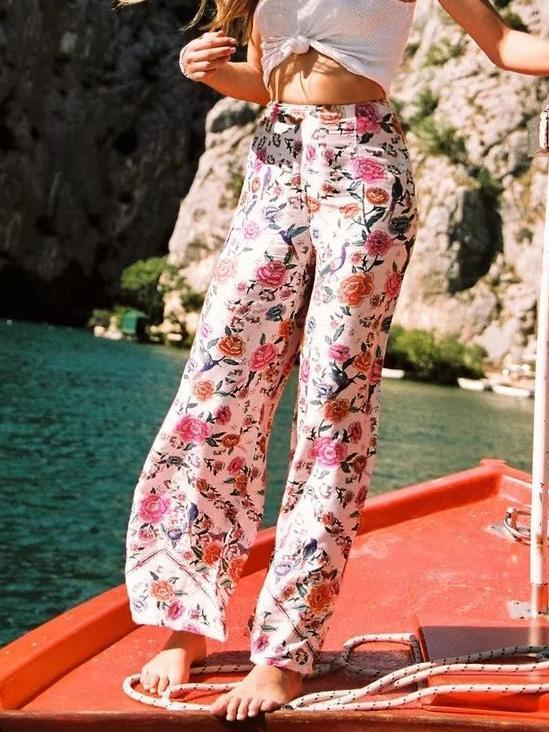 Pretty Floral Wide Leg Bottom Casual Pants