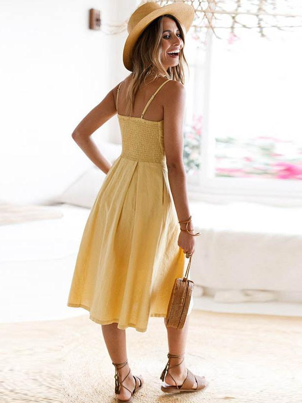 Solid Color Bowknot Midi Dresses