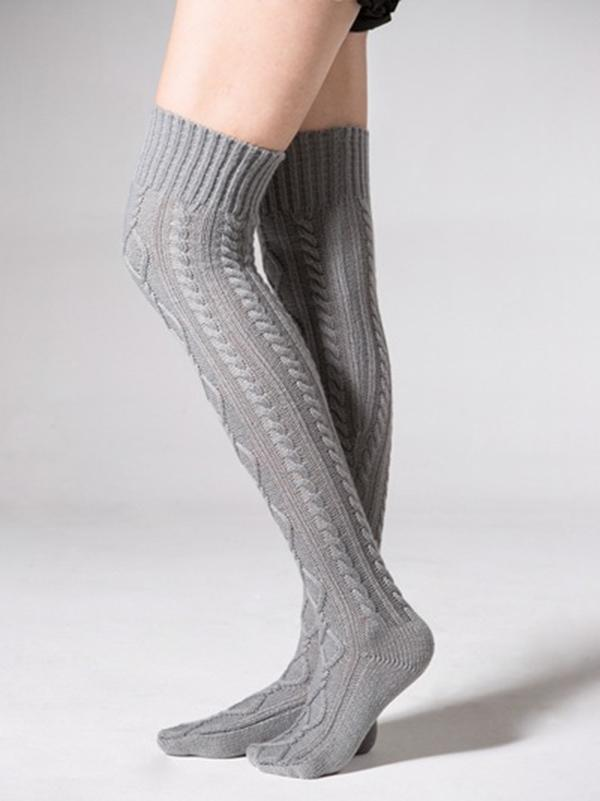 Knitting Over Knee-high 4 Colors Stocking